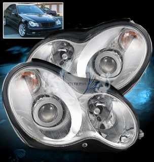 01 05 Mercedes Benz W203 C Class 4DR Sedan Projector Chrome Headlights