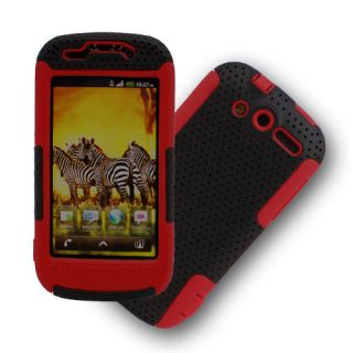 HTC myTouch 4G Black Red Hybrid Hard Case Silicone Cover Protector