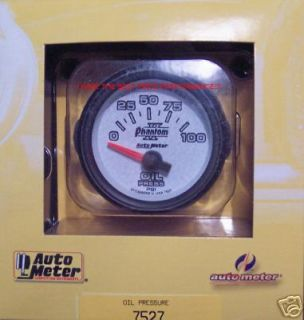 Auto Meter Phantom II 2 1/16 52MM 52 MM Electric Oil Pressure Gauge 0