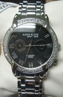 ANNE KLEIN WOMENS DIAMOND BLACK DIAL SWISS WATCH #12/2071 ~NEW IN BOX