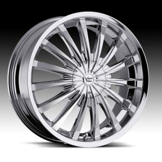 22 inch Vision Shattered Chrome Wheels Rims 5x115 +32