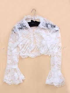 Party Womens Sexy Lace Open Front Bell Sleeve Lace Bolero Shrug Top