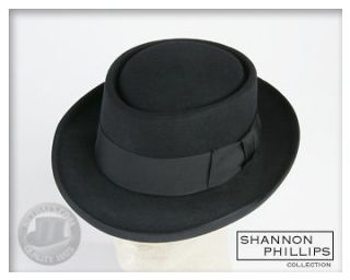 Shannon Phillips Black PORKPIE Jazz Hat ALL SIZES INSTOCK New Pork Pie