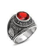 MARINE CORPS STAINLESS STEEL RING SZ 8 THRU13 RED CZ + GIFT BAG