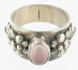 VINTAGE STERLING SILVER PINK MOONSTONE FLOWER BAND RING SIZE 6.5