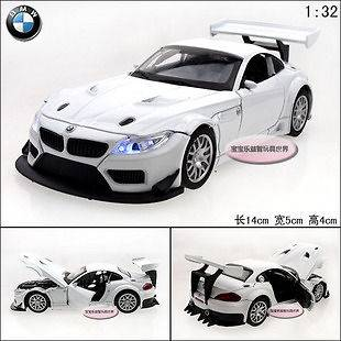 New 132 BMW Z4 GT3 Alloy Diecast Car Model Toy With Sound&Light White
