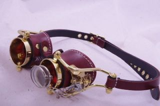 Steampunk Victorian Engrave Goth Goggles LARP Brown Red lenses