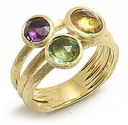 Marco Bicego  JAIPUR  Yellow Gold with 3 Stones Ring AB474 MIX214