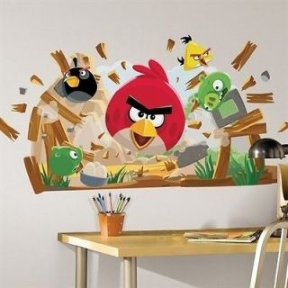 ANGRY BIRDS GIANT wall sticker MURAL 32 BIG decals PIGS ROCKS WOOD 34