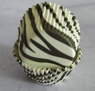 and white zebra cupcake liners bake paper cup muffin cases 50x33mm