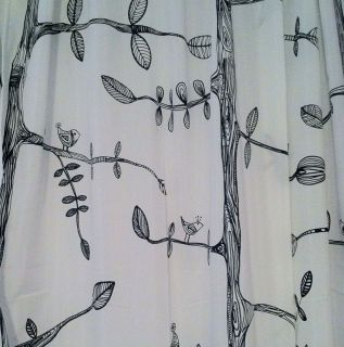 IKEA Eivor window curtains White & Black, Trees Birds Leaves Drawing