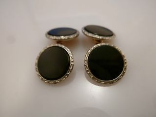 ANTIQUE ART DECO ONYX CUFFLINKS 10K WHITE GOLD