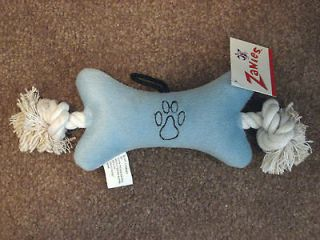 ZANIES BLUE BOY DOG TOY PAW SQUEAKY CHEW TOY ROPE KNOT