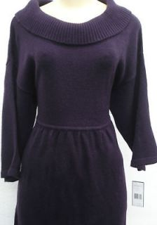 Jessica Howard Cowl Neck Ribbed Knit Dress purple L XL