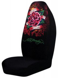 ED HARDY KOI FISH 5 PC SET SEAT COVERS FRONT FLOOR MATS STEERING WHEEL