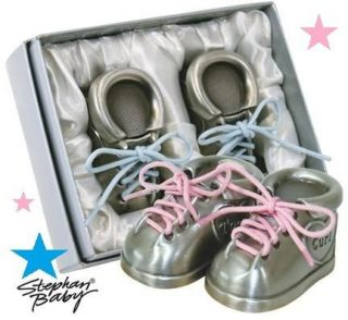 BRAND NEW PINK / BLUE BABY SHOES FIRST TOOTH/ CURL PEWTER KEEPSAKE SET