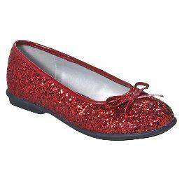 New Girls Xhilaration RED Glitter Ballet Flats NWT