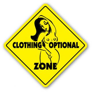 CLOTHING OPTIONAL ZONE Sign xing gift novelty pool swim supplies nude