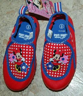 TODDLER GIRLS RED POLKA DOT Minnie Mouse Water Shoes DISNEY 5 6 7 8 9