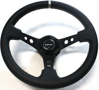 PILOTTA RISER 3 DEEP STEERING WHEEL BLACK LEATHER SILVER STICHsparco