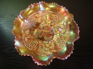 Northwood Carnival Glass Marigold Grape and Cable Variant Ruffled Bowl