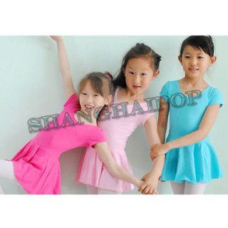 Ballet Costume Tutu Skirt Short Sleeve Gymnastics Leotard Dance Dress