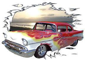 1957 Red Flames Chevy Bel Air Sedan Hot Rod Sun Set T Shirt 57, Muscle