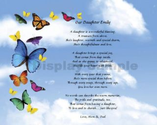 Daughter Gift Personalized Daughter Poem Butterflies