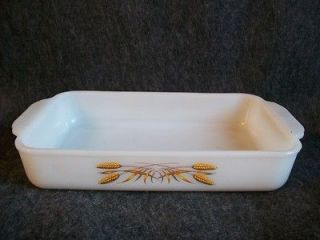 Milk Glass Fire King Wheat #410 1 1/2 quart Utility Dish Baking Pan