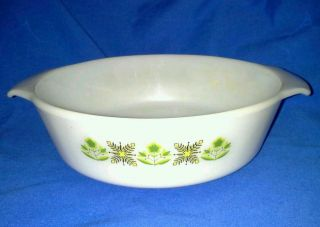 Fire King Meadow Green 1 1/2 Quart Cassarole Bowl USA Milk Glass