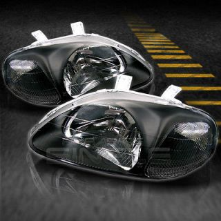 CIVIC 2/3/4DR JDM BLACK CLEAR CRYSTAL HEADLIGHTS LAMPS LEFT+RIGHT