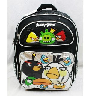 Licensed Angry Birds Metallic BLACK Large 16 Backpack