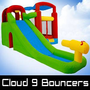 with Water Cannon Bounce House Inflatable Bouncer Slide Moonwalk Jump