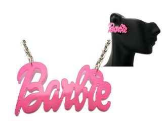 Nicki Minaj Inspired Pink Glitter Pearly Barbie Earrings Necklace Set