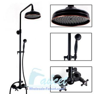 Oil Rubbed Bronze Wall Mounted Rain Shower Mixer Tap With Showerhead