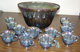 Vntg Indiana Blue Carnival Princess Punch Bowl 12 Cups