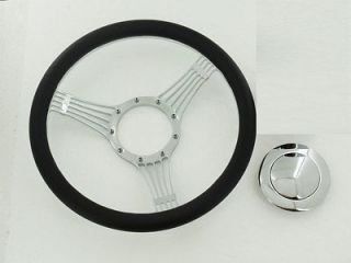 14 Billet Chrome Banjo Steering Wheel & Half Wrap Leather & horn