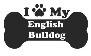 Heart Love My English Bull dog decal sticker