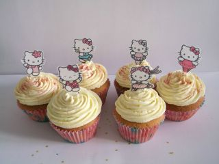 24 DANCING HELLO KITTY EDIBLE CUPCAKE/FAIRY CAKE TOPPERS **STAND UPS