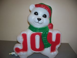 NEW BLOW MOLD YARD DECORATION CHRISTMAS WHITE TEDDY BEAR 14 PLASTIC