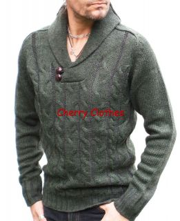 MENS CHUNKY CABLE KNIT SHAWL COLLAR JUMPER SWEATER ALL SIZES S M L