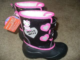 Hello Kitty Girls Black Winter Snow Boots Shoes Size 13