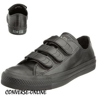 KID Boy Girl CONVERSE All Star BLACK LEATHER VELCRO STRAP Trainers 34