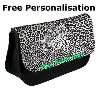 Personalised Leopard Print Pencil Case Make Up Bag