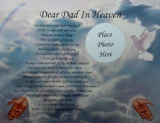 DEAR DAD IN HEAVEN POEM MEMORIAL GIFT FOR LOSS OF A LOVED ONE