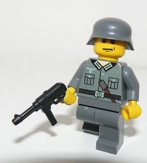 Lego German SOLDIER WW2 & mp 40   custom figure RARE dark grey