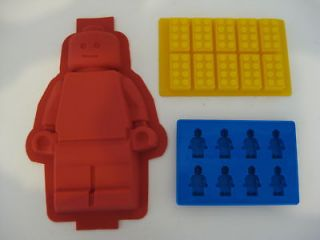 LEGO SILICONE MINIFIGURE CAKE PAN MOLD BRICK TRAY SET 3