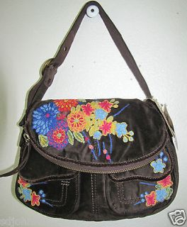 Lucky Brand Stash Velvet Embroidered handbag bag purse BROWN NWT