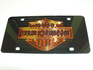 Harley Davidson Mirror Laser License Plate Black/Orange/ New