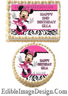 MINNIE MOUSE ZEBRA PRINT Edible Birthday Cake Party Image Cupcake